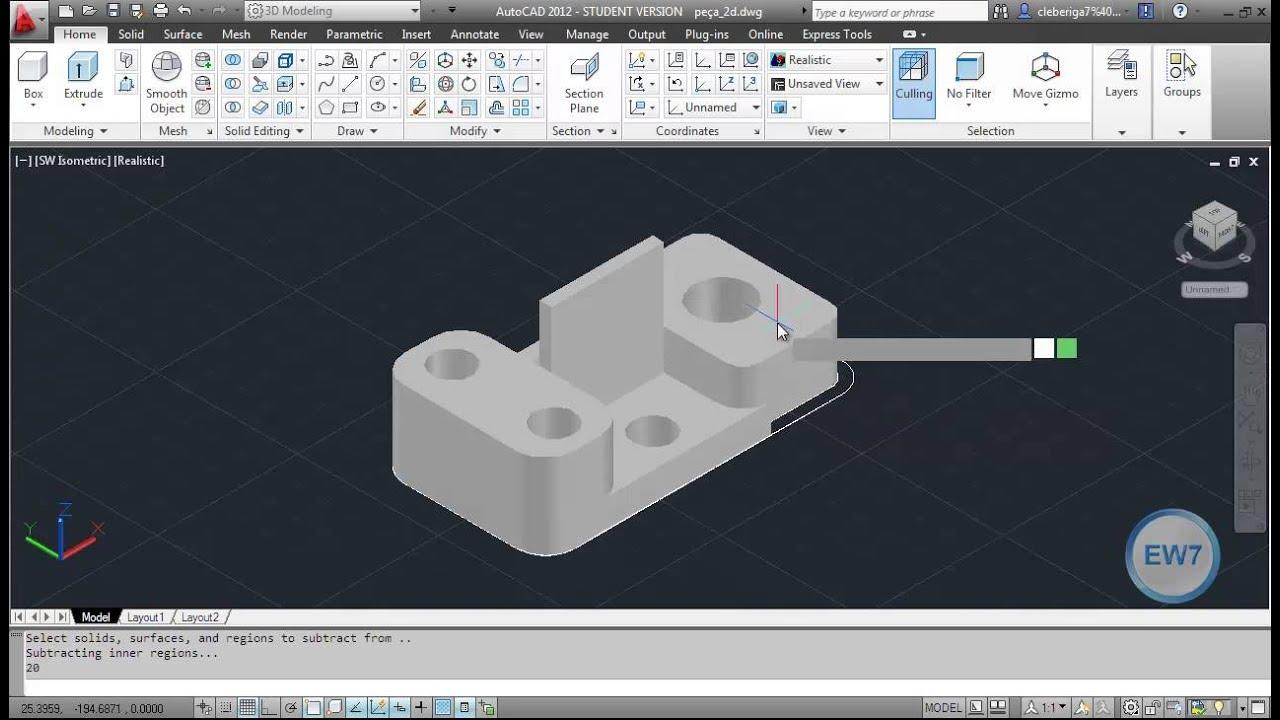 Exemplo Prático no AutoCAD - Modelando uma peça mecânica