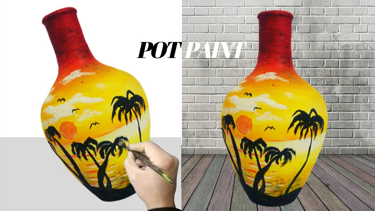 Easy Pot Painting Using Acrylic Diy Pot Painting Decoration Ideas Youtube