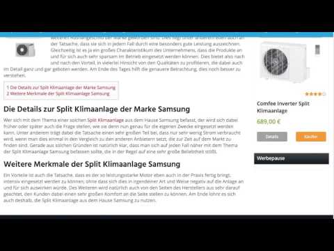 split klimaanlage samsung split klimaanlagen test youtube. Black Bedroom Furniture Sets. Home Design Ideas
