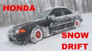 Winter Beater Honda Snow Drift RUNS INTO GUARDRAIL