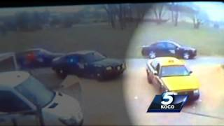 Surveillance camera shows how car chase begins