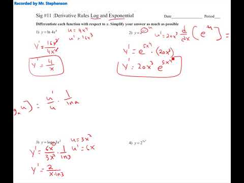 Sig #11: Derivatives of Log and exponential