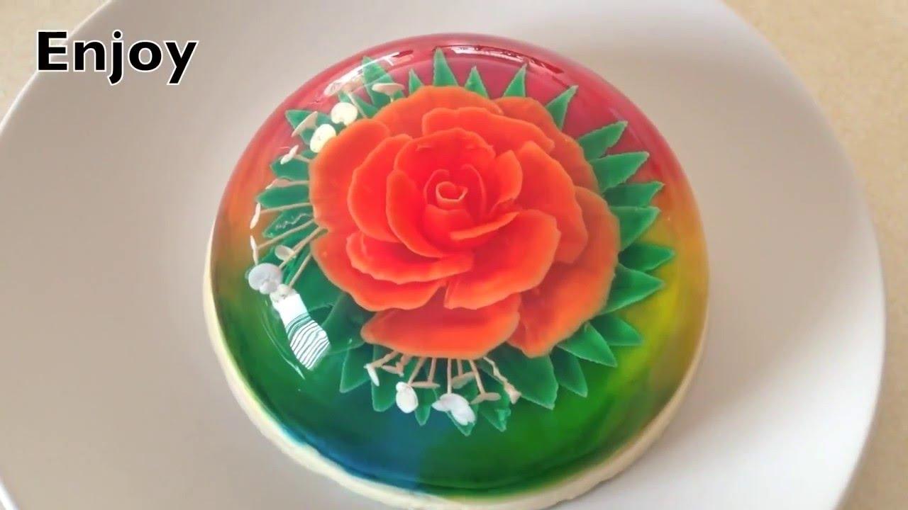 3d Gelatin Art Flower Rose Knife Technique Youtube