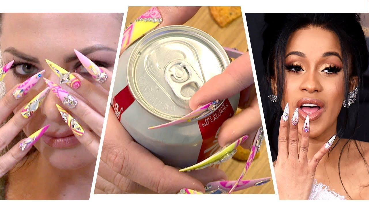 Living A Day With Cardi B S Nails Youtube