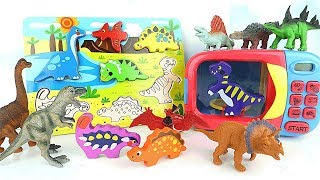 Learn Dinosaurs With Wooden Puzzle | Dinosaur Toys Surprise Eggs/Just Like Home Microwave Oven Toys