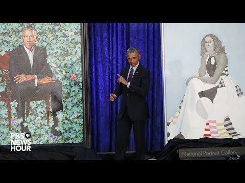 watch:-barack,-michelle-obama-portraits-unveiled-at-national-portrait-gallery