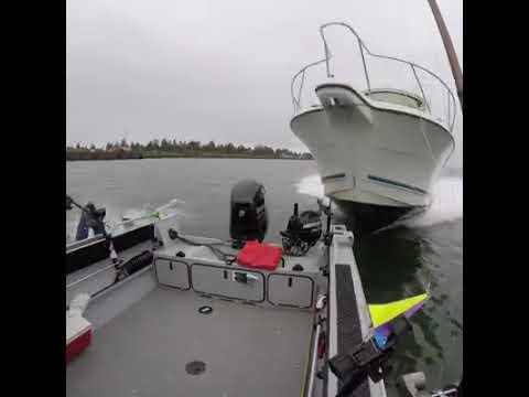Fishing accident! Ship wrecks boat!