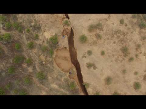 Drone video of a fresh earth fissure in Tator Hills, Pinal County, Arizona