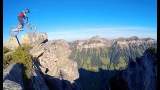 Mountainbike tricks in swiss alps