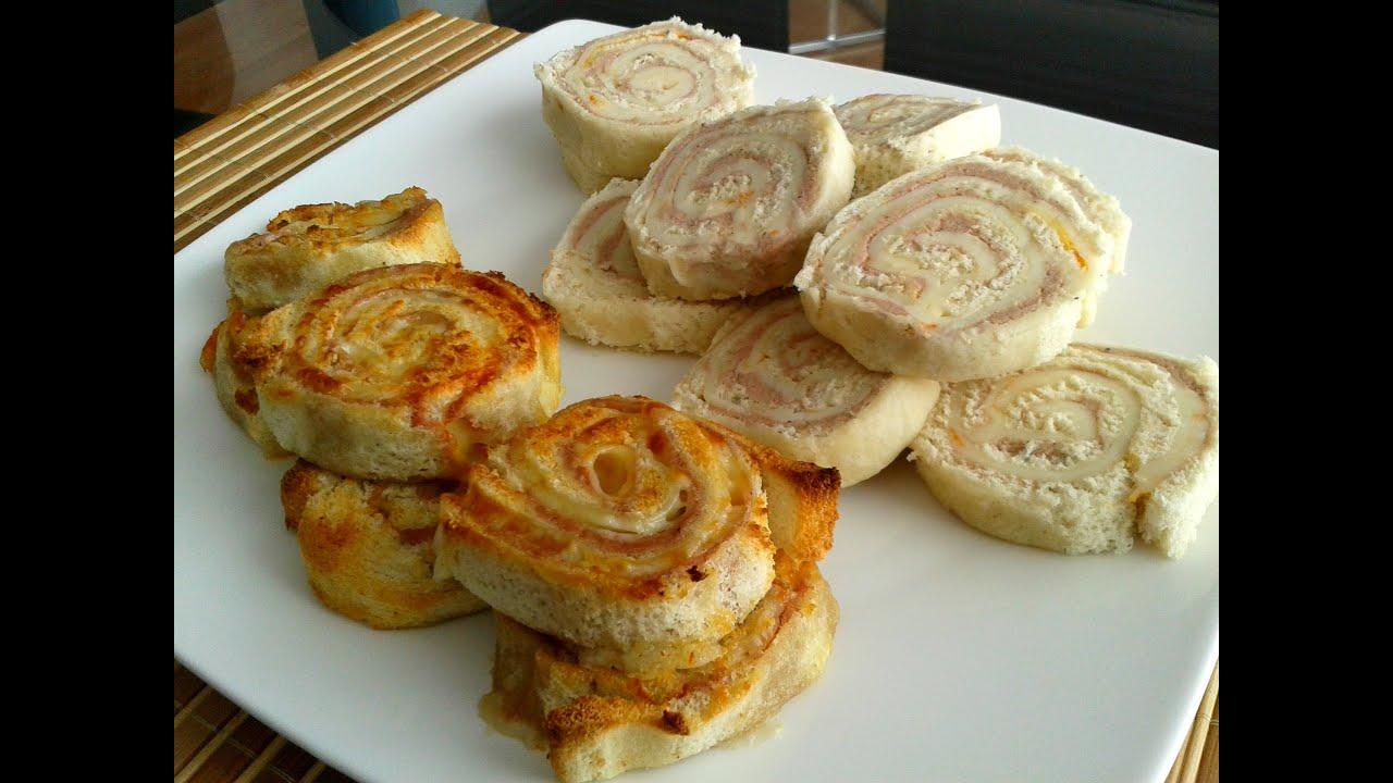 Enrollado de pan receta paso a paso youtube for Canape de jamon y queso