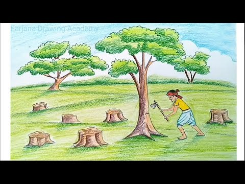How to draw scenery of save trees for save nature… step by step