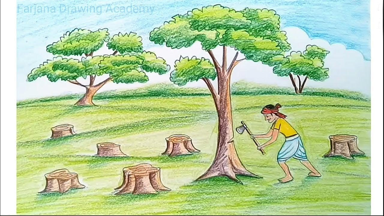 How to draw scenery of save trees for save nature step by step