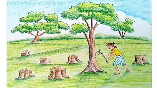 How to draw scenery of save trees & save nature... step by step