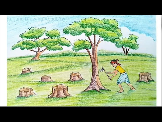 How to draw scenery of save trees for save nature... step by step