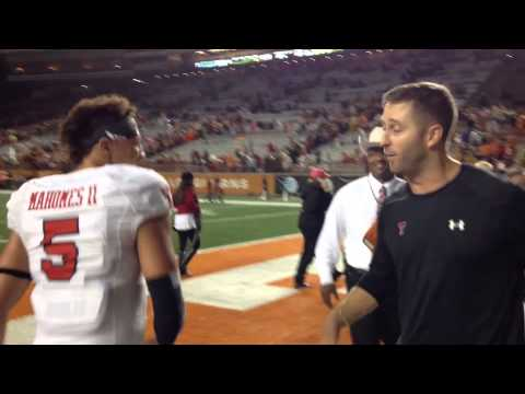 Patrick Mahomes and Kliff Kingsbury after win versus UT 2015