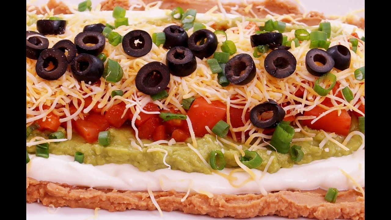 7 Layer Dip:Recipe:Mexican Bean: Easy! Super Bowl: How to Make: Di Kometa-Dishin' With Di Recip