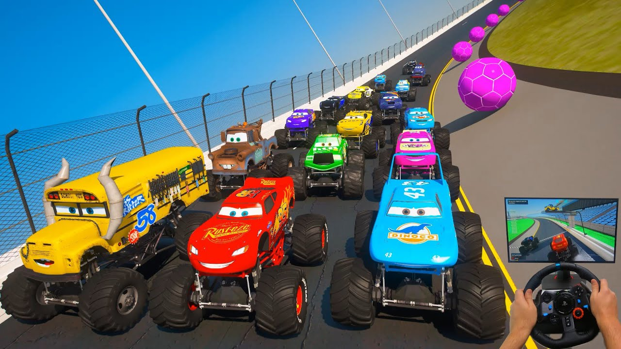 Race Cars Daytona Monster Trucks   McQueen Monster Truck Mater Miss Fritter The King & Friends