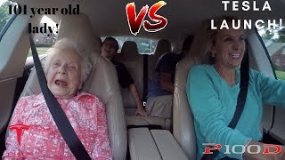 101 YEAR OLD LADY REACTS TO TESLA P100D LAUNCH!!!