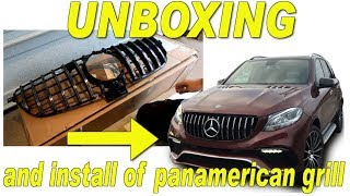 UNBOXING Panamerican GT-R GRILLE for Copart rebuild. HOW TO REMOVE/INSTALL THE W166 GLE