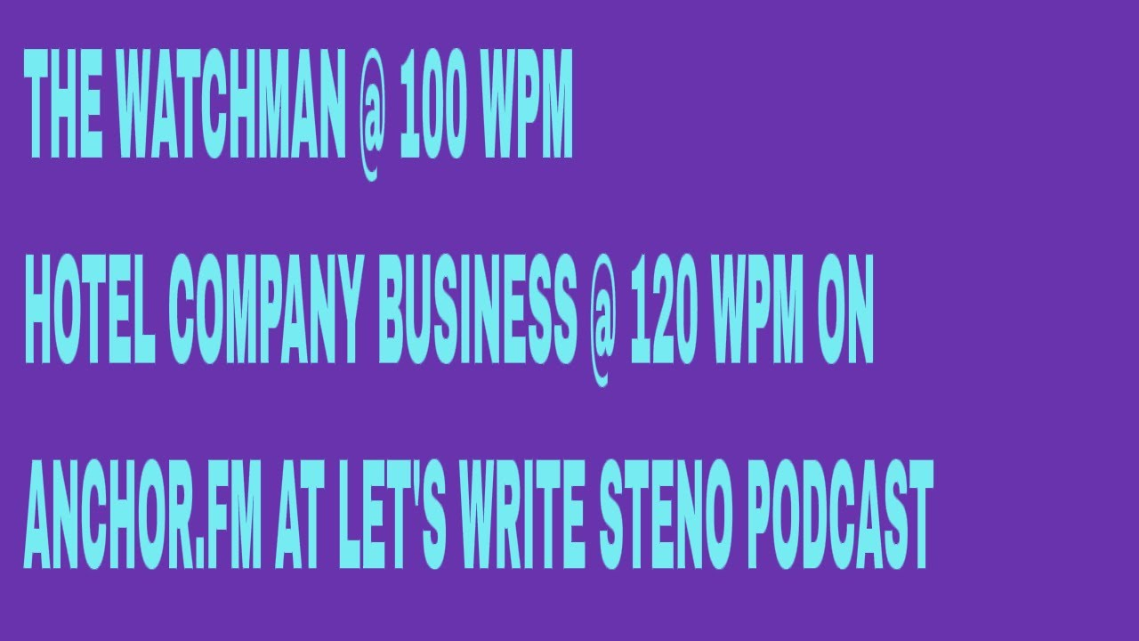 LET'S WRITE STENO PODCAST