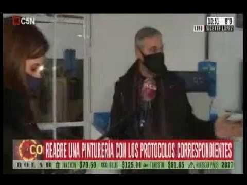 Fabián Castillo visita Fábrica de pinturerías en movil de C5N