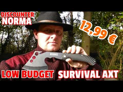✔LOW BUDGET Survival Axt f. 12,99 € v. NORMA / Hardcore Test und Review / Discount Bushcraft Kit