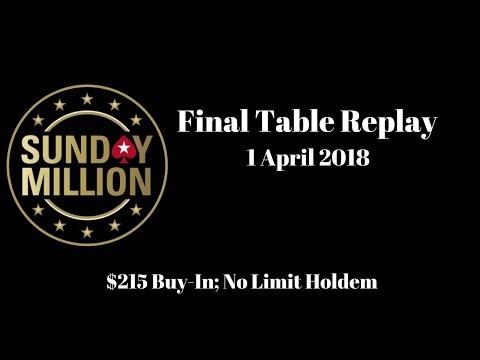 $215 Sunday Million 1 April 2018: Final Table Replay (Cards-Up) - PokerStars