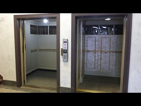 1925 Manual OTIS elevator and and retro modded elevator at Kirkpatrick Building St  Joseph MO