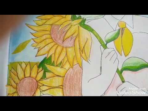 Tranh vẽ anime và hoa hướng dương / sunflower    Tina Nguyễn art