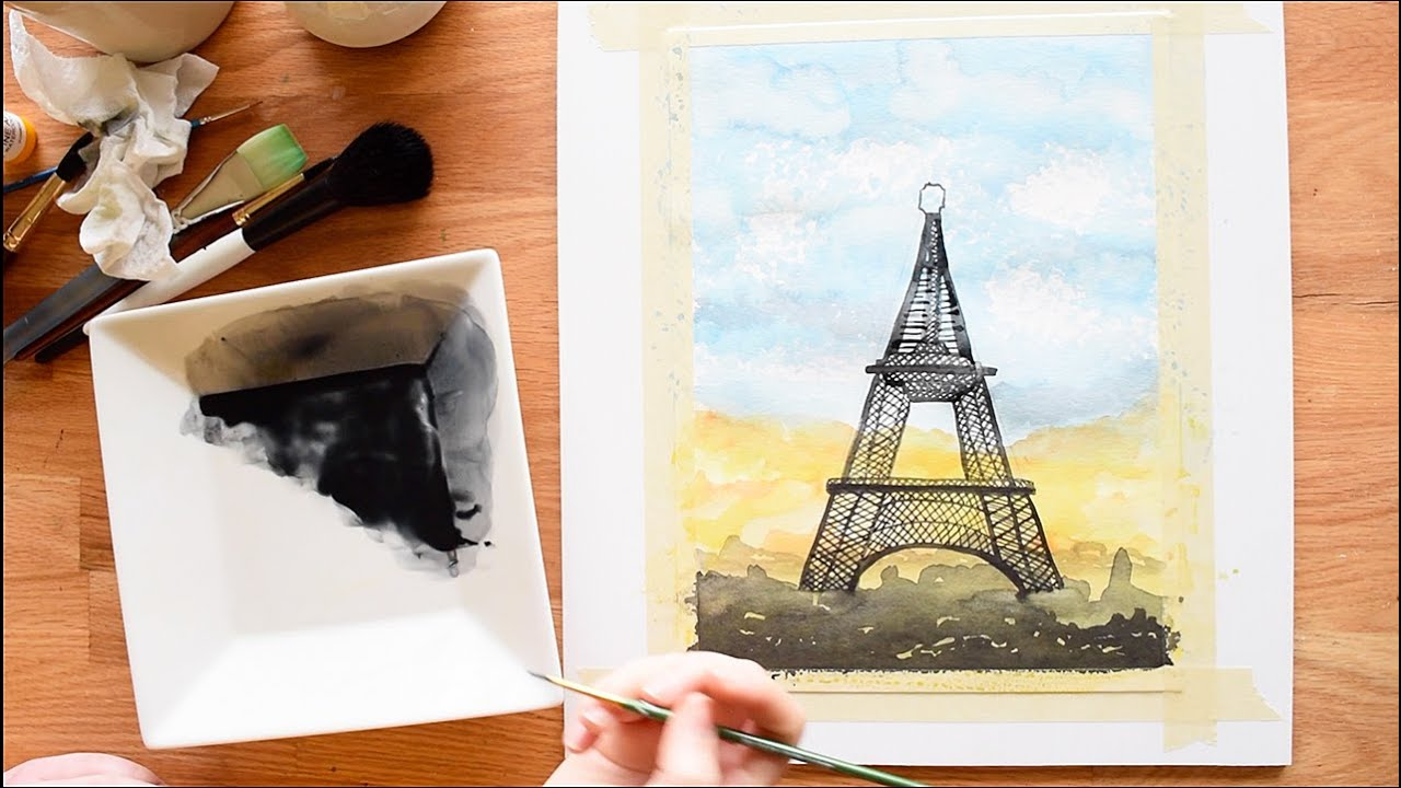 Eiffel Tower, watercolour painting tutorial - YouTube