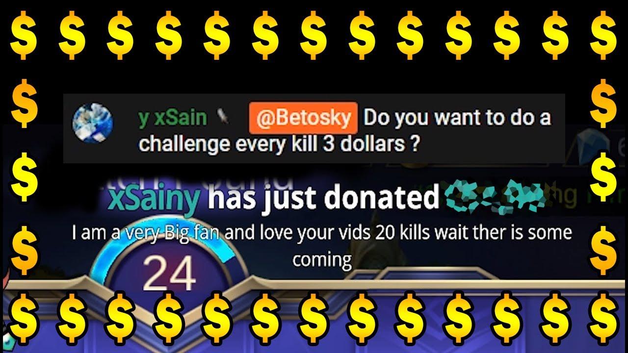 MY VIEWER CHALLENGED ME 1 KILL = $3! | Mobile Legends Bang Bang