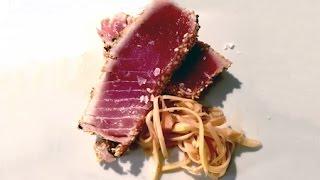 Seared Sesame Crusted Tuna Steak With Asian Sauce