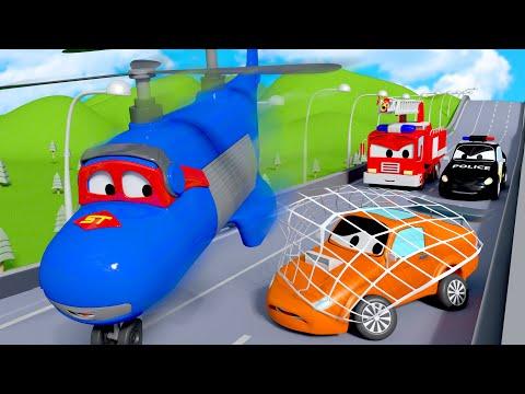 A perseguição do Tyler  Carl o Super Caminhão na Cidade do Carro  Desenho animado para crianças
