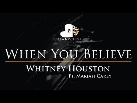 Whitney Houston Ft. Mariah Carey - When You Believe - Piano Karaoke / Sing Along Cover with Lyrics
