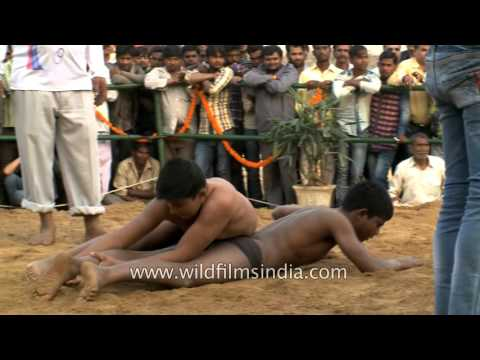 Little kids try their strength at a mud wrestling in India
