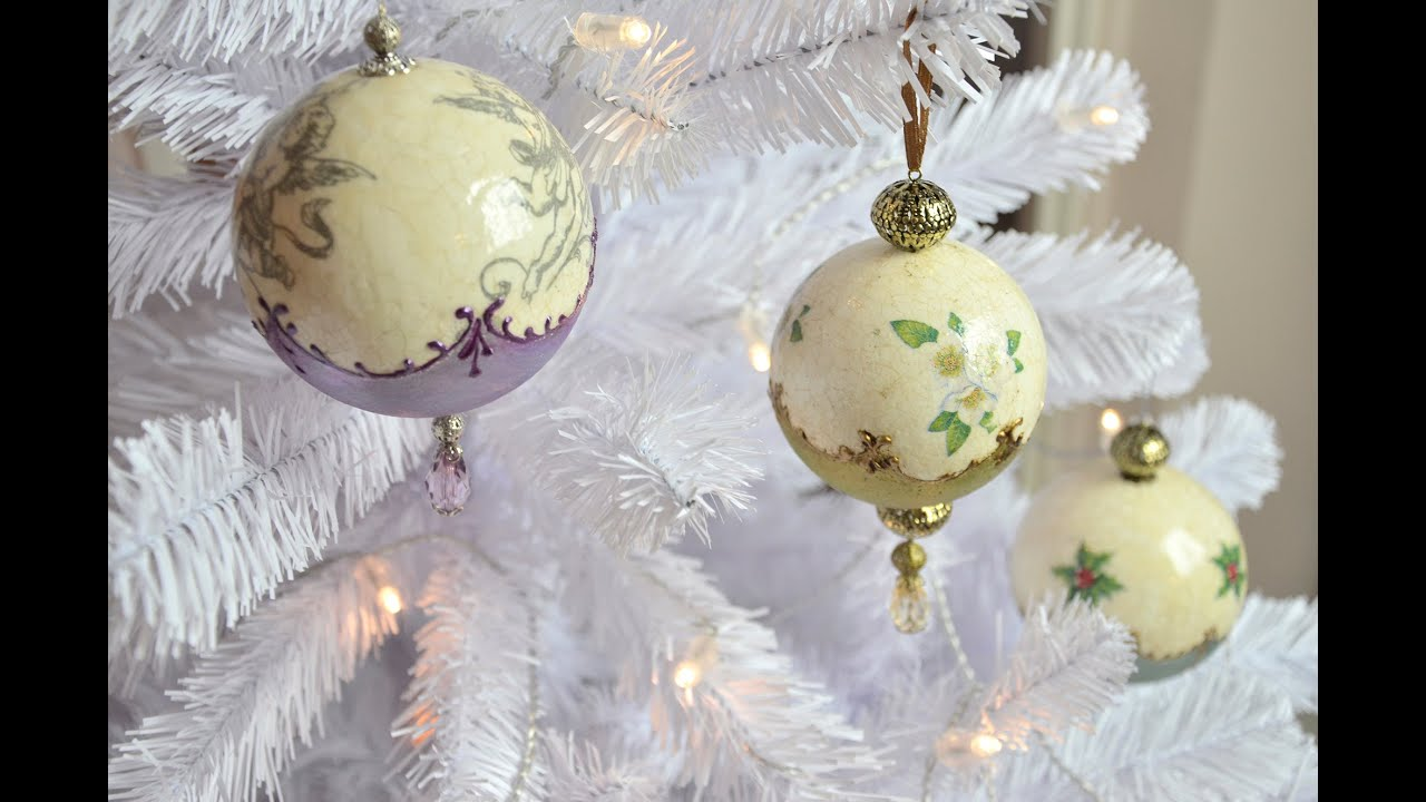 Christmas Ornament With Crackle  And Wax Paste  Youtube