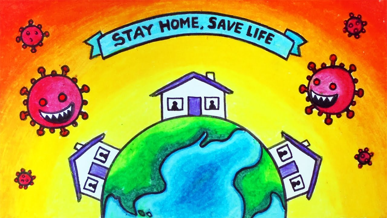 How to Draw Stay Home Save Lives Easy Poster | Coronavirus ...