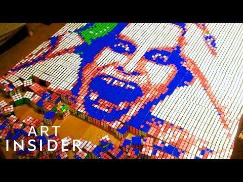 Artist Makes Celebrity Portraits Out Of Rubik's Cubes