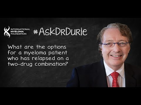 What are the options for a myeloma patient who has relapsed on a two-drug combination?