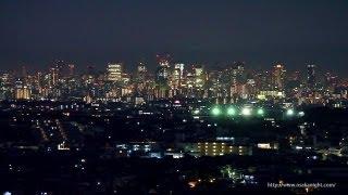 箕面スカイアリーナからの大阪夜景 Night View from Minoh Sky Arena Osaka Japan