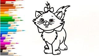 Как нарисовать КОТЕНКА, КОШКУ / Мультик раскраска КОТЕНОК / Нарисуй Ка