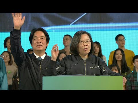 Taiwan ruling DPP party leader Tsai Ing-wen holds election eve rally   AFP