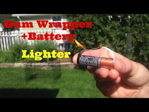 """Make A """"Prison Lighter"""" Out Of A Battery + Gum Wrapper"""