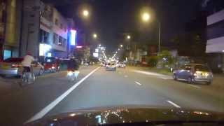 Driving on Galle Rd at night to the Cinnamon Grand in Colombo, Sri Lanka