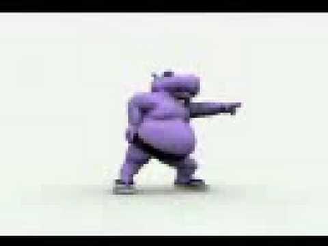 Tra Dancing Fat Funny Purple Hippo