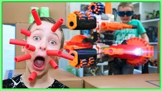 NERF WAR: INSANE BOX FORT ATTACK Nerf Gun Game with MODDED NERFs