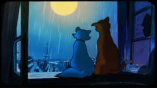 Oldies playing in another room and it's raining (City night Ambience Paris, open window 3 HOURS ASMR