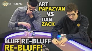 Bluff vs Re-Bluff vs Re-Bluff: Art Papazyan & Dan Zack Go For It ♠ Live at the Bike!