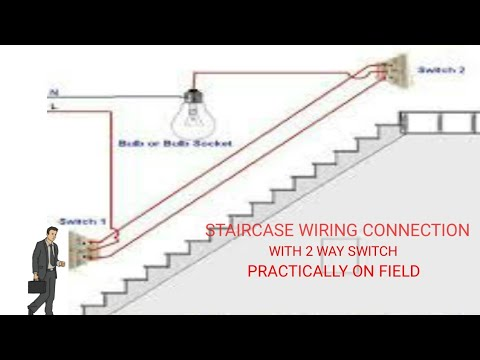 Staircase wiring connection with 2 way switch on