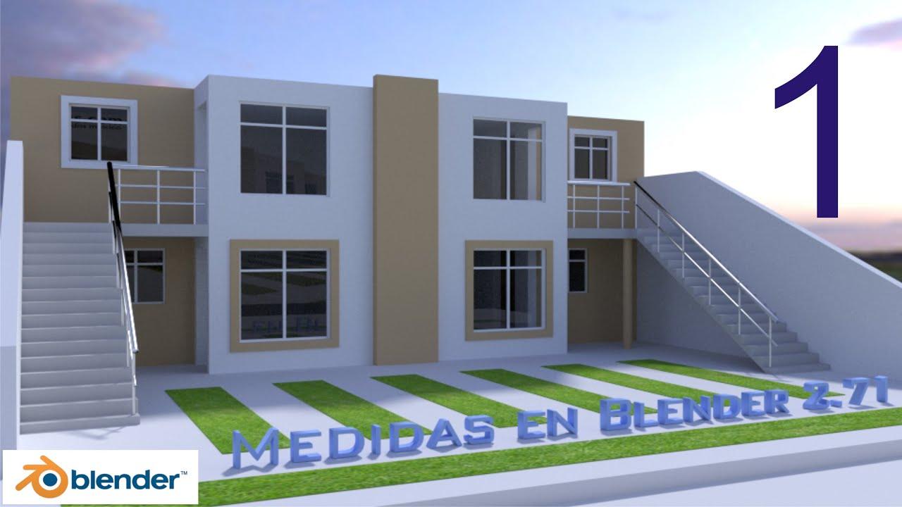 Medidas en blender dise o modelado de una casa 1 5 for Diseno interiores 3d